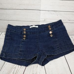 21 Denim Button Front Detail Shorts